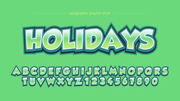 typographie de bandes dessinées 3d audacieux vert vecteur