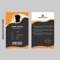 modèle de carte d'identité d'employé orange noir
