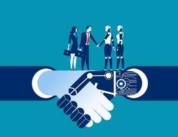 humains et robots se serrant la main