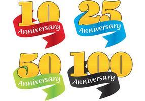 Vecteurs d'insignes d'anniversaire de ruban colorés vecteur