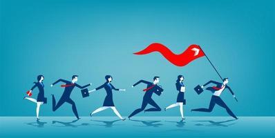 chef d'entreprise tenant le drapeau rouge