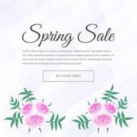 bannière de vente de fleurs de printemps rose