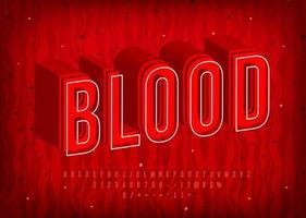 alphabet de sang avec des lettres chaudes thermiques