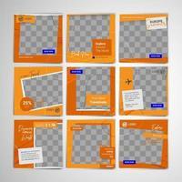 modèles de publication de médias sociaux de voyage avec thème orange