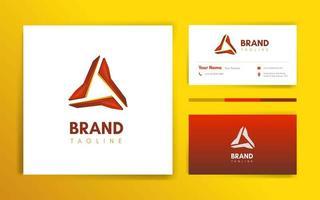 modèle de logo et carte de visite triangle rouge moderne