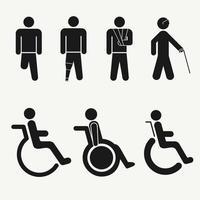 jeu d'icônes de personnes handicapées vecteur