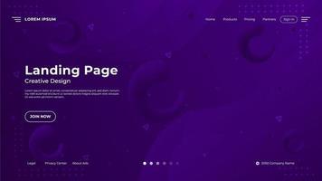 page d'atterrissage abstraite avec forme fluide dégradé violet