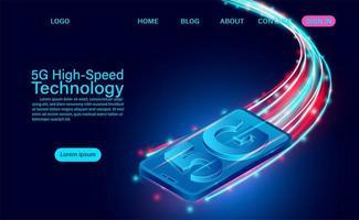 Zoom 5g sur la technologie haut débit du smartphone vecteur