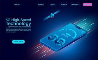 Compteur de vitesse à technologie haute vitesse 5g sur téléphone vecteur