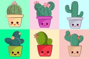 Collection de cactus de caractère kawaii vecteur
