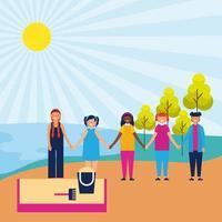 enfants se tenant la main dans le parc