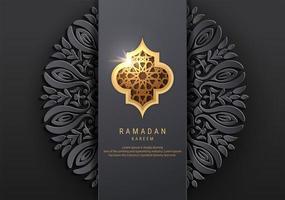 ramadan kareem gris foncé fleuri vecteur