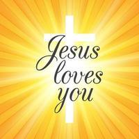 Jésus vous aime sur fond sunburst vecteur
