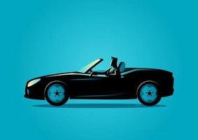 silhouette d'homme d'affaires en voiture décapotable vecteur