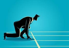 silhouette d'homme d'affaires s'apprête à sprinter vecteur