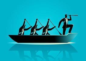 homme d'affaires silhouette et équipe bateau à rames vecteur