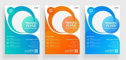 modèles de flyer de voyage avec des formes rondes transparentes vecteur