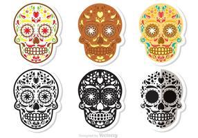 Ensemble vectoriel de crâne de sucre Dia de Los Muertos