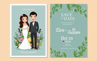 réservez la date avec un couple devant des fleurs vecteur