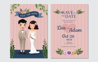 rayé enregistrer la carte de date avec la mariée et le marié vecteur