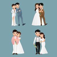 personnages de mariée et de marié affectueux vecteur