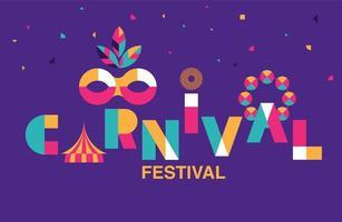 bannière de typographie carnaval avec masque et tente vecteur