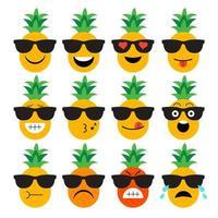 ensemble d'emoji d'ananas vecteur