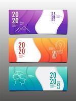 bannière horizontale sertie de design ondulé et icônes