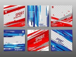 ensemble de bannière de médias sociaux de sport grunge rouge et bleu vecteur