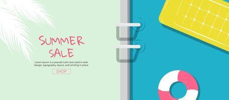 bannière de vente d'été piscine vecteur
