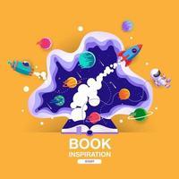 livre ouvert avec scène spatiale en découpe de papier