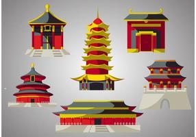 Pack vecteur temple chinois