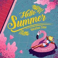 bonjour flyer d'été avec une femme dans un tube de flamant rose