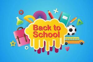 affiche colorée de retour à l'école avec des articles scolaires