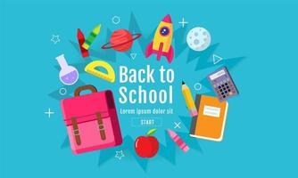 affiche colorée de retour aux fournitures scolaires