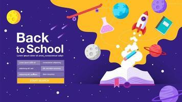 page de recherche violette avec le thème de l'espace