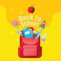 affiche de retour à l'école jaune avec sac à dos rouge