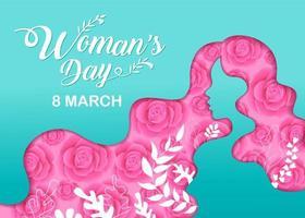 silhouette de tête de fille de jour de femme avec des fleurs vecteur