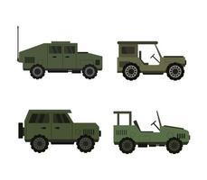 ensemble d'icônes de véhicules militaires vecteur