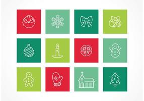 Icônes illustrées de Noël vectoriel gratuit