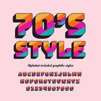 3d, gras, retro, années soixante-dix, rayures, alphabet vecteur