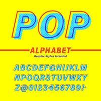 alphabet pop rétro offset vecteur