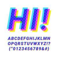 conception de l'alphabet oblique surimpression colorée vecteur