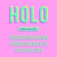 Surimpression holographique alphabet pop vecteur