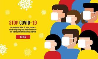 personnes portant des masques design covid-19