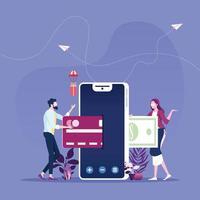 concept de magasinage en ligne de paiement mobile vecteur