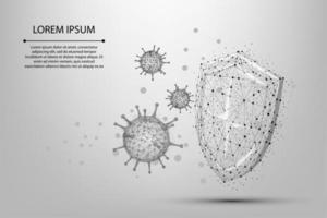 cellule de coronavirus ligne et point abstrait près du bouclier