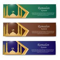 bannière de voeux ramadan avec mosquée vecteur