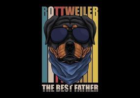 chien rottweiler rétro avec des lunettes vecteur