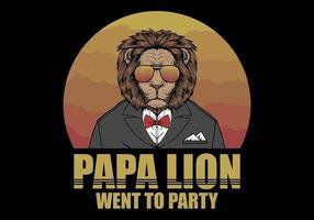 papa lion dans un style rétro vecteur